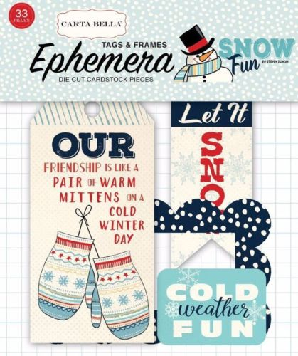 Carta Bella, Snow Fun Frames & Tags Ephemera, Cardstock - Scrapbooking Fairies