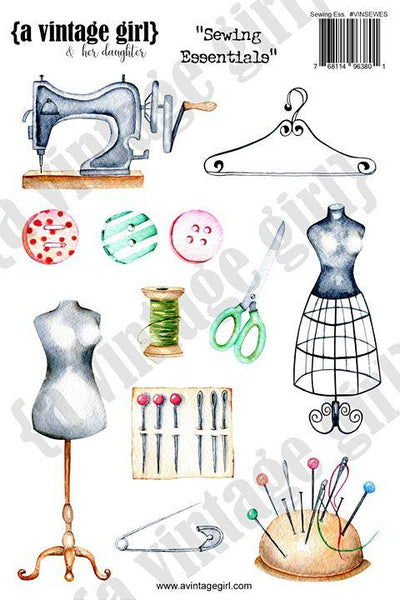 A Vintage Girl & her daughter, Sewing Essentials Sticker Set