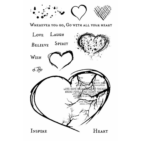 "49 & Market, Clear Stamps 4""X6"", With All Your Heart"