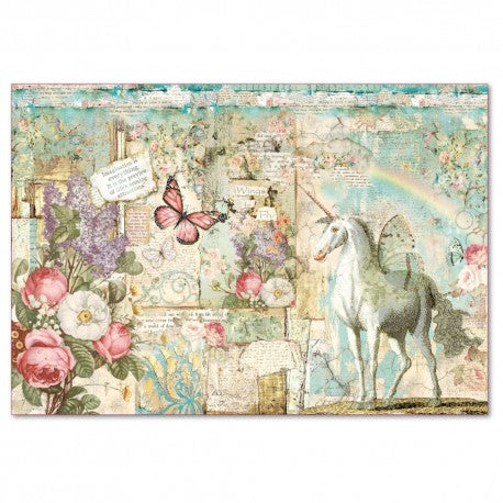 "Stamperia Rice Paper Napkin 19.5""X19.6"", Wonderland Unicorn"