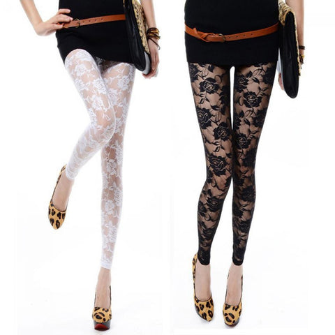 Sexy Women's Lace Leggings - Worlds Colliding