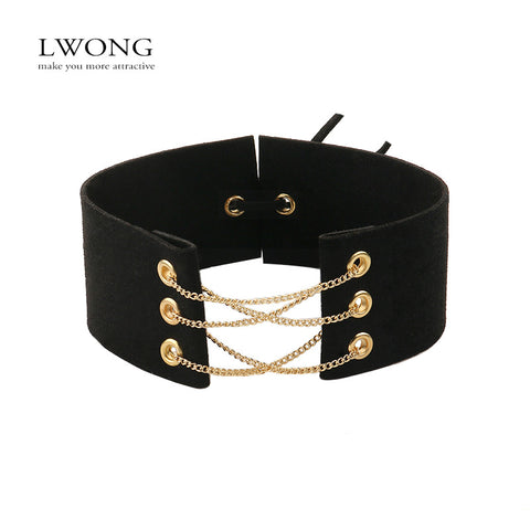Velvet Choker With Gold Chains - Worlds Colliding