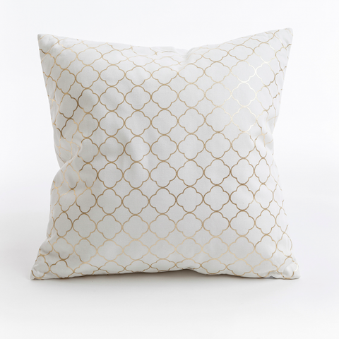 Quatrefoil geometric printed cushion, in size 46cm x 46cm. Available in dove grey and white and gold.