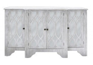Sag harbor large sideboard. Has four doors comprising valuable storage space. Made up in washed ash wood with mirrors on each door, overlayed with helix pattern in the same ash wood. Front View.