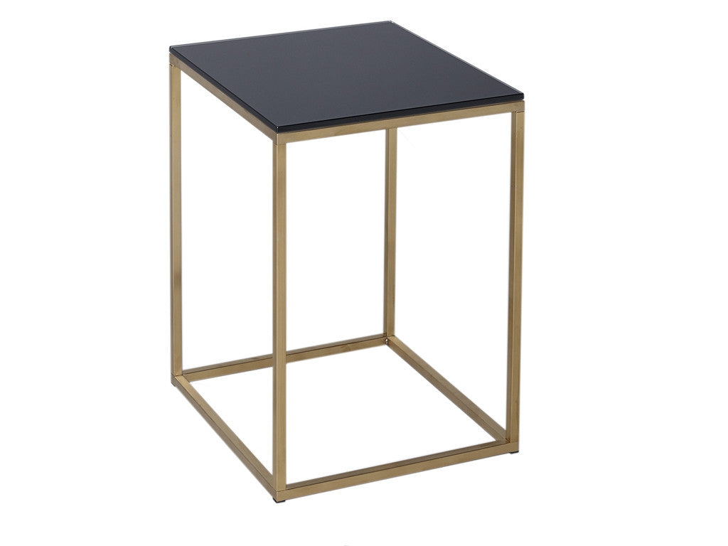 White top square brass table. Narrow Brass frame with glass black top. Simply chic homewares and Interiors.