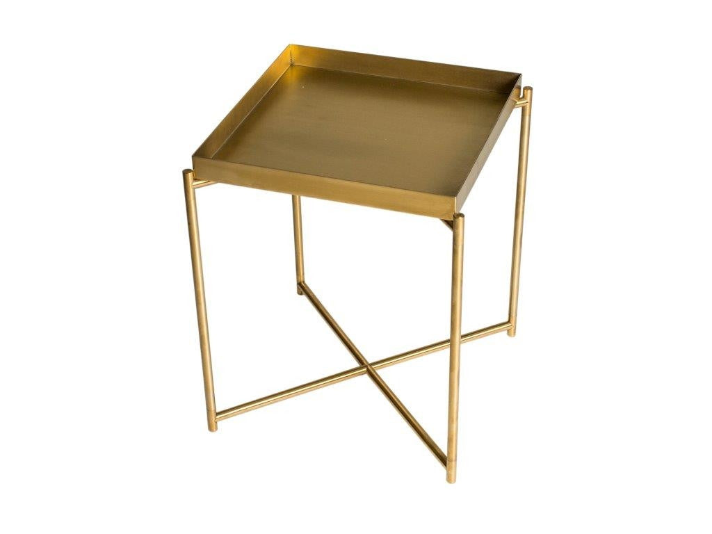 Sqaure Brass tray top table, on narrow frame. Modern, and contemporary. Stylish homewares and Interiors.