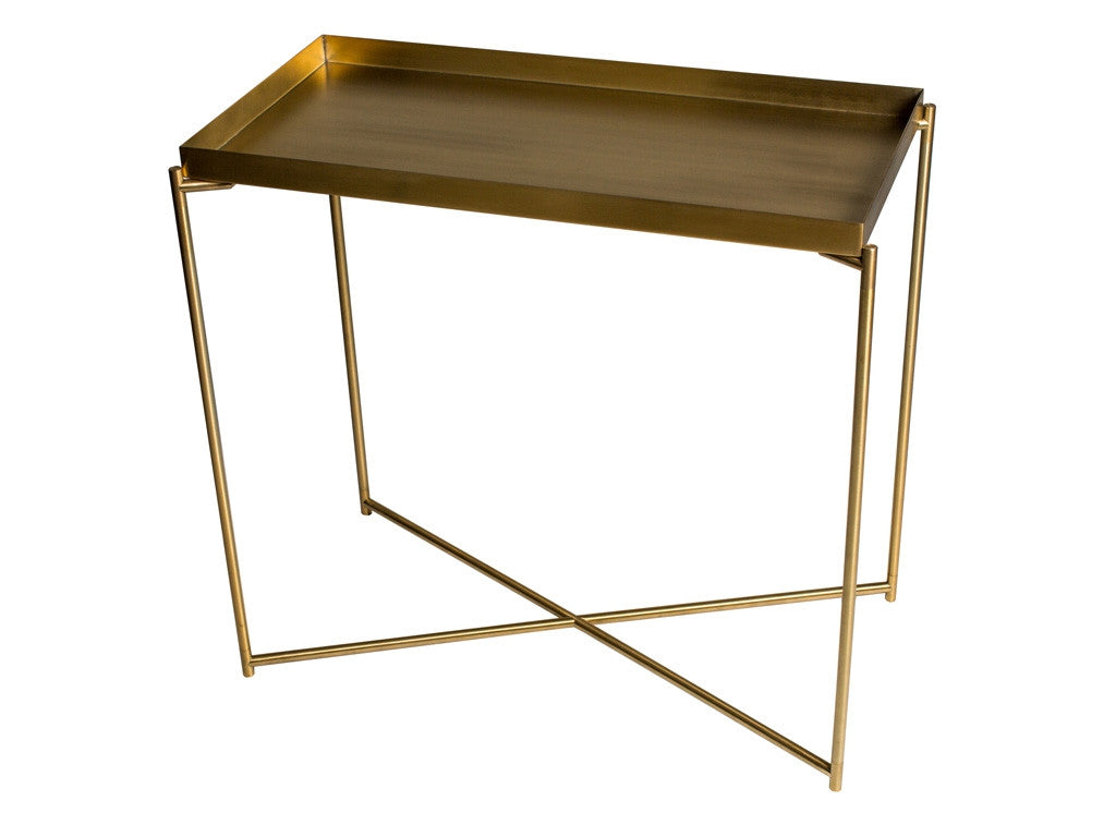Stylish Sophisticated and contemporary. Brass console table with narrow brass frame. Tray top adds extra impact. Stylish homewares and interiors.