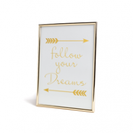 Add positivity into your home with the Dreamer frame. 'Follow your dreams' text is highlighted by the on trend colour gold.