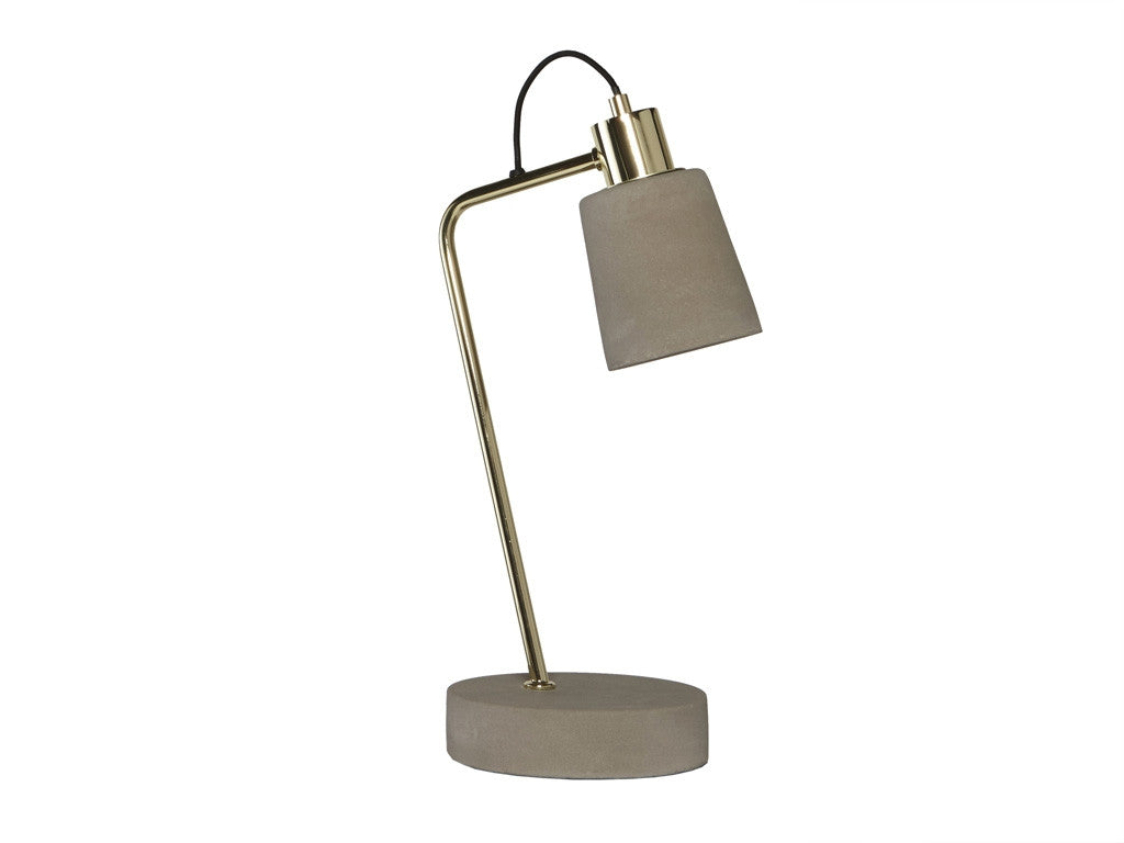 Concrete Brass Table Lamp. Concrete base with brass arm and concrete shade. Luxury homewares Stylish Living.