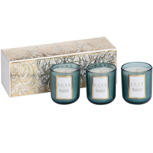 luxe candles blue. Allure of the sea, fresh and crisp scent with notes of white tea. Gifted in box, trio of candles.