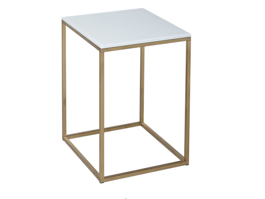 White top square brass table. Narrow Brass frame with glass white top. Simply chic homewares and Interiors.