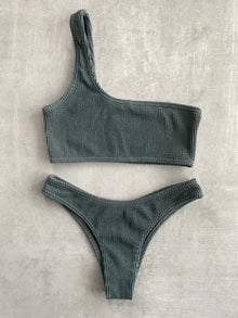 Tia One Shoulder Set - Steel Gray