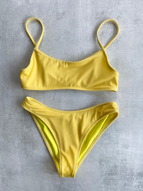 Piper Ribbed Top x Piper II Moderate Coverage Bottoms - Pale Yellow