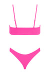 Mia Ribbed Bow Tie Set - Hot Pink