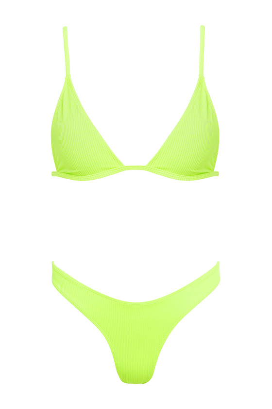 Willow Ribbed Top x Piper Ribbed Bottom - Neon Lime