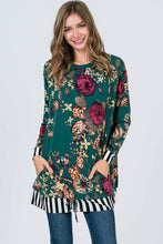 Drawstring Bottom Stripe Edge Floral Tunic