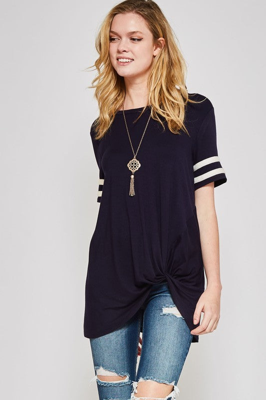 Black Short Striped Sleeve Top with Side Knot