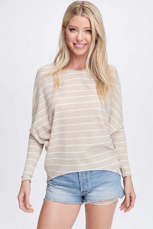 Dolman Top Oversize Loose Stripe Tunic