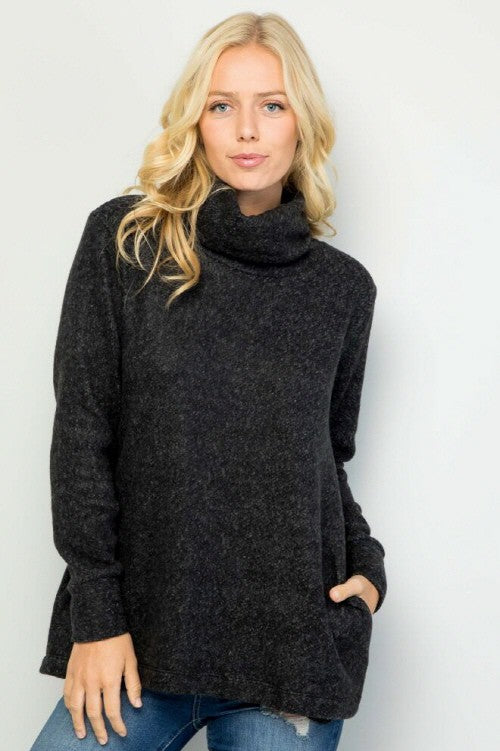 Cowl Neck Solid Sweater