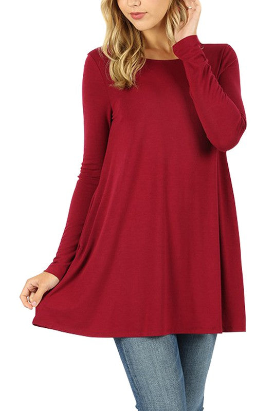 Long Sleeve Boat Neck Flared Top