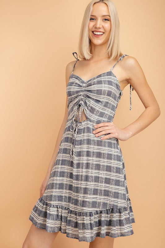 Cami Denim Dress w/ Tie Spaghetti Straps