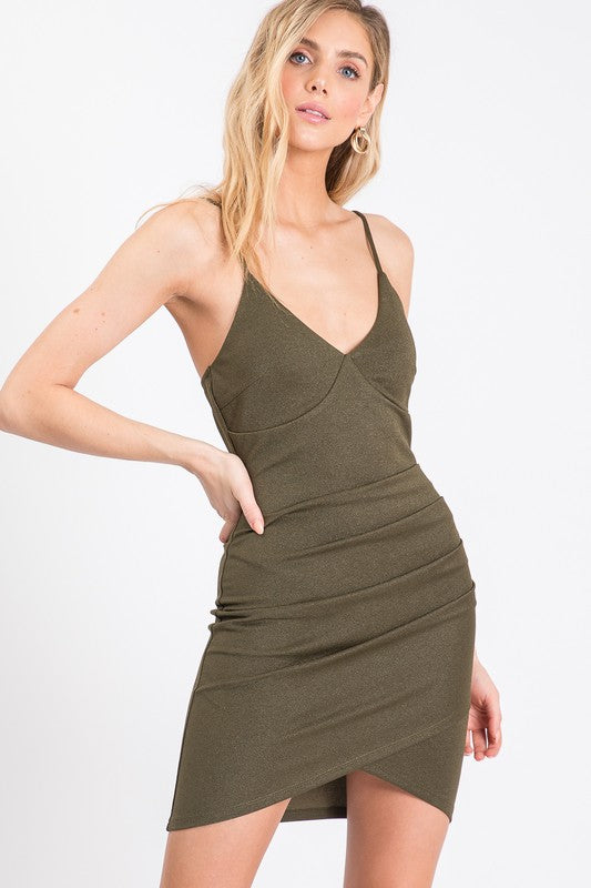 Olive V-Neck Cocktail Dress