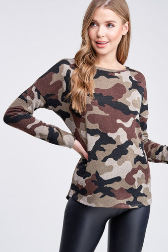 Dolman Sleeve Camo Knit Top w/Twist Back