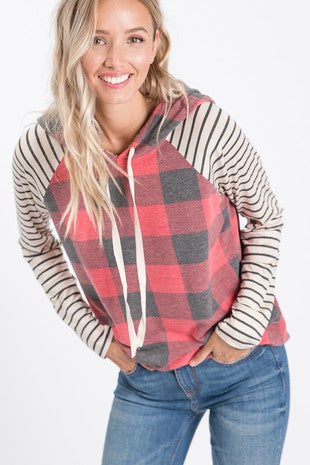 Plaid and Striped Hooded Sweatshirt