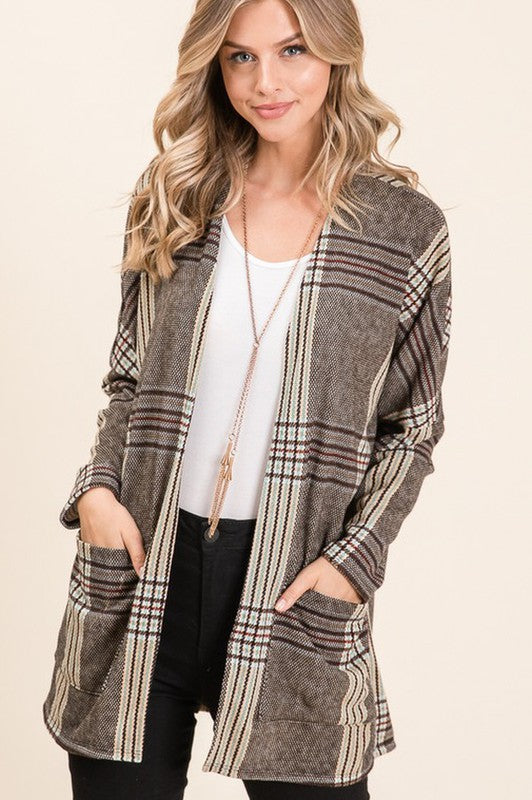PLAID OPEN CARDIGANS WITH POCKETS