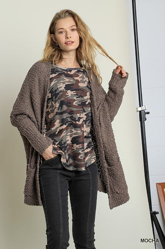 Open Front Sweater cardigan with Pockets