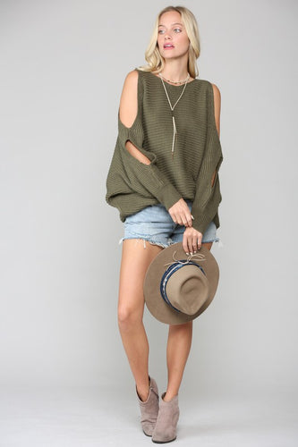Spreading knit sweater with open arm sweater