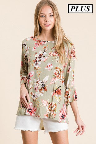Created Plus Rayon Gauze Printed Ruffled 3/4 Sleeve Top