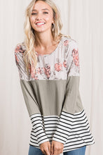 Floral/Stiped and solid Tunic Top