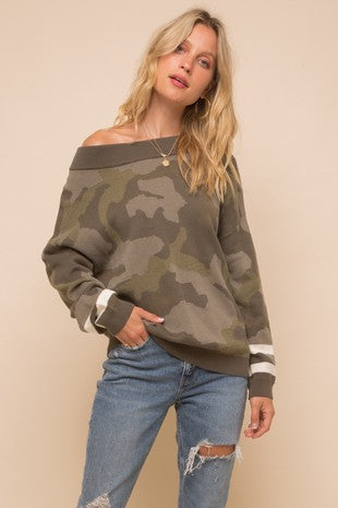 Camouflage loose fit off the shoulder Sweater