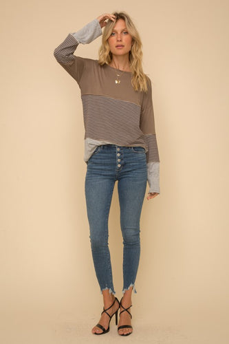COLOR BLOCK LONG SLEEVE KNIT