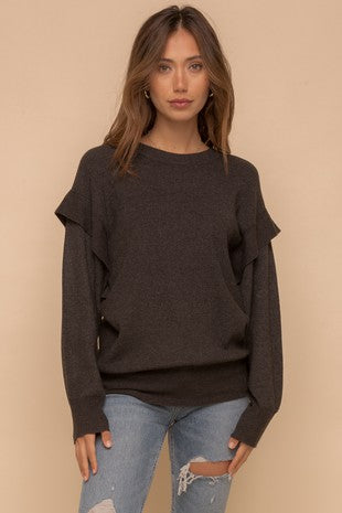 BAND DETAIL ARMHOLE DOLMAL SWEATER