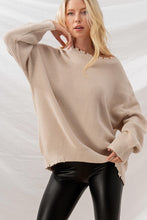 FRAYED HEM RIB KNIT OVERSIZED SWEATER