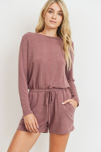 Long Sleeves Pocket French Terry Romper