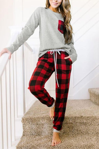 Red Plaid Drawstring Loungewear Set with Pocket Fabric95% polyester 5% cotton