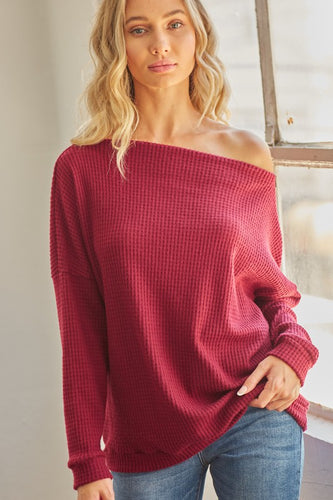 WAFFLE CREW NECK LONG SLEEVE TOP WITH SIDE ZIPPER