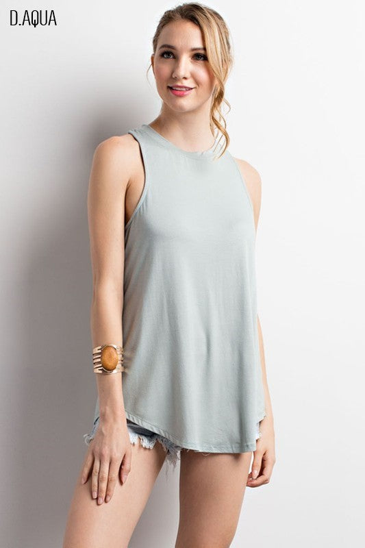 Basic Cut Out Back Sleeveless Top