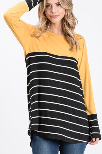 Stripe Print Contrast Top w/Button