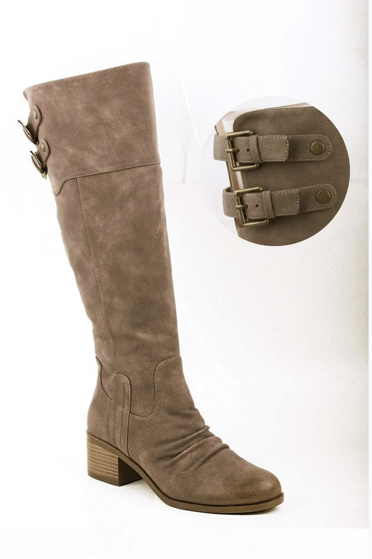 Buckled Slouchy Riding Boots