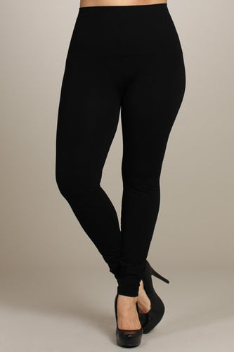 Black Curvy Tummy Tuck Solid High Waist Leggings (Size XL)