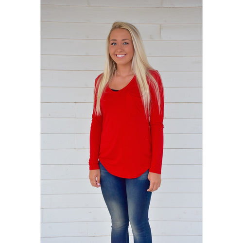 Molly Long Sleeve V-Neck Top (More Colors)