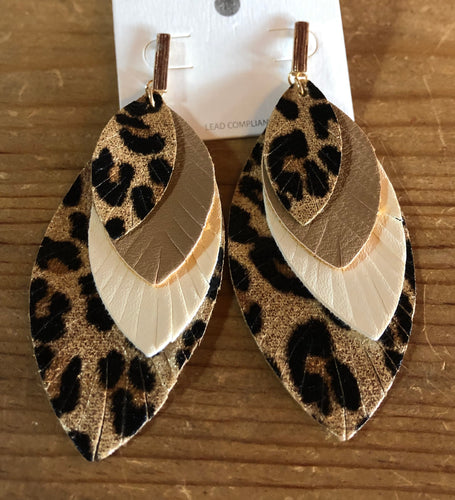 Leopard Printed 4-Layered Leather Earrings