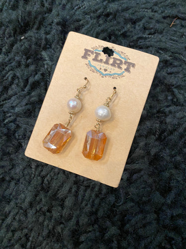Cream Pearl Earrings with Topaz Stone