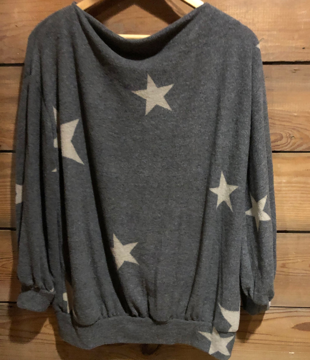 Gray Sweater w/Beige Stars