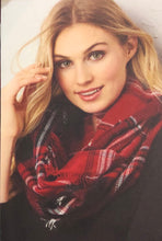 Red and Black Plaid Print Infinity Scarf