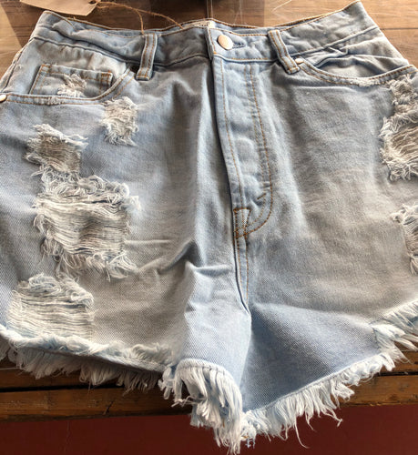 Distressed Washed Denim Jean Shorts